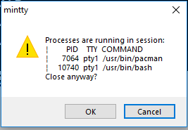 Msys2 64bit Window Close Warning