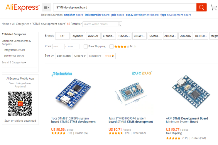 "Aliexpress Snap shot of the search for ""STM8 development board"""